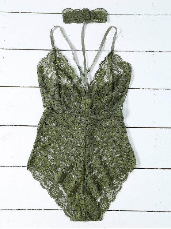 women Low Cut Choker Lace Teddy - ARMY GREEN S