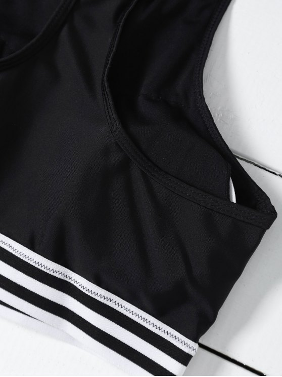 Striped Mesh Panel Bikini - BLACK XL Mobile