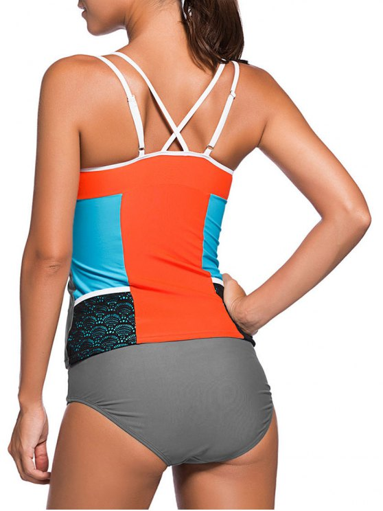 Color Block Tankini Swimsuit For Juniors - GRAY + ORANGE L Mobile