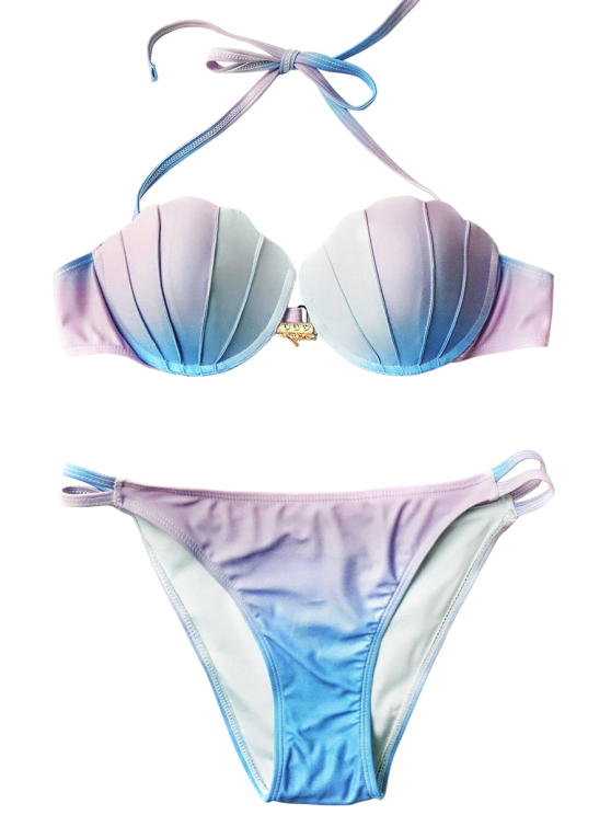 Ombre Color Shell Mermaid Bikini - BLUE + PURPLE S Mobile