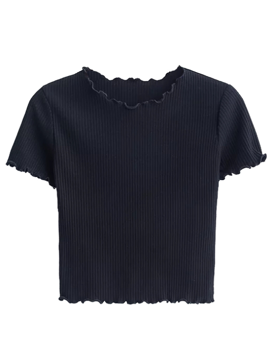 Cropped Flounced T-Shirt - BLACK M Mobile