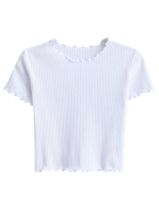 Cropped Frilled T-Shirt - WHITE S Mobile