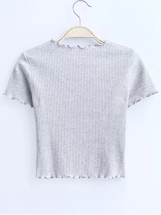 Cropped Flounced T-Shirt - LIGHT GRAY S Mobile