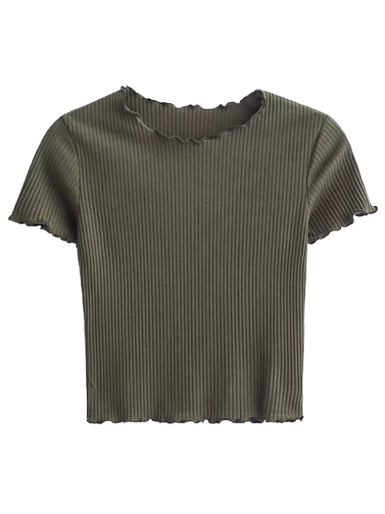 chic Cropped Flounced T-Shirt - ARMY GREEN S