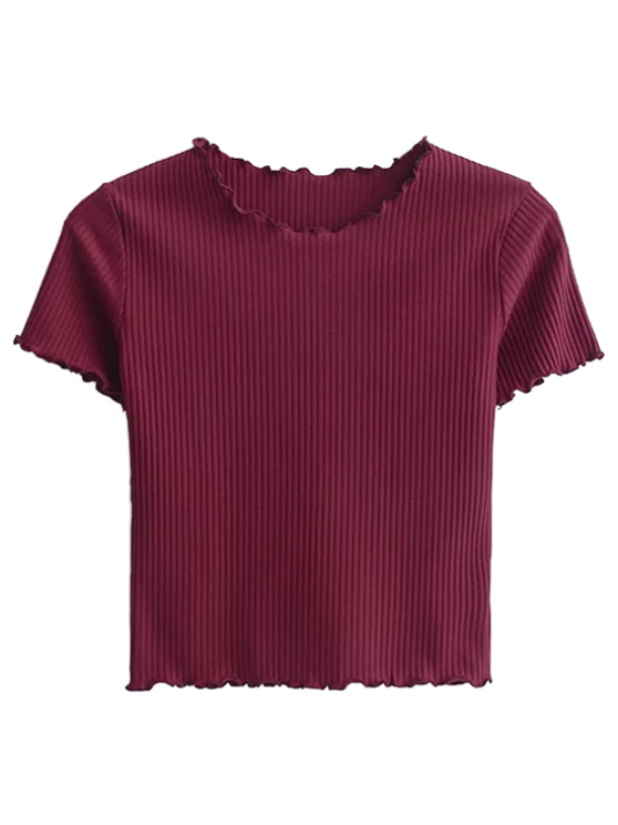 unique Cropped Flounced T-Shirt - WINE RED S