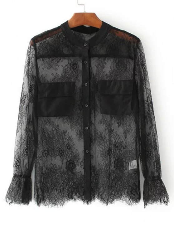 buy See-Through Lace Blouse - BLACK S