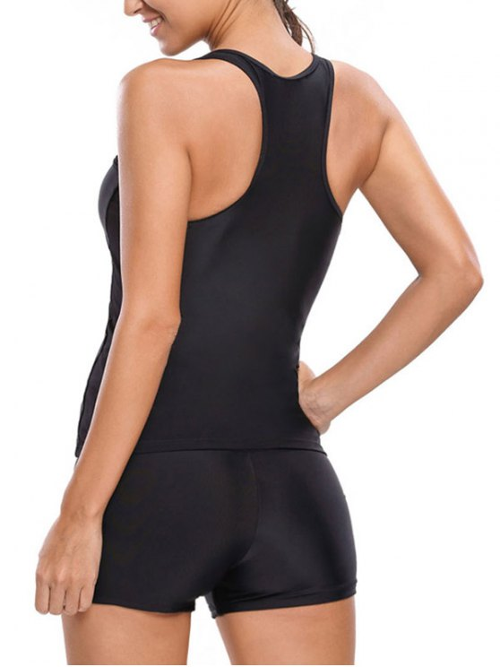 Racerback Tankini With Shorts - BLACK XL Mobile