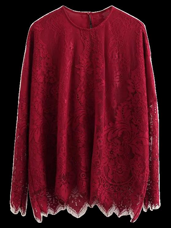 buy Scalloped Hem Lace T-Shirt - BURGUNDY S