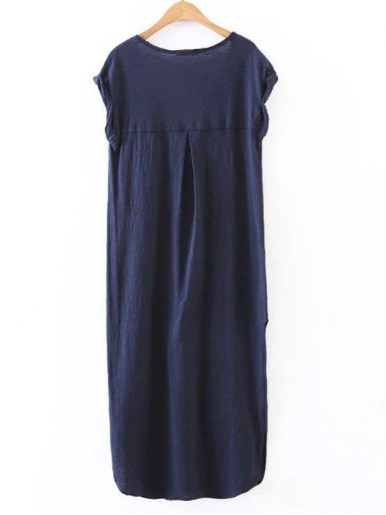 Casual Slit Straight T-Shirt Dress - CADETBLUE L Mobile
