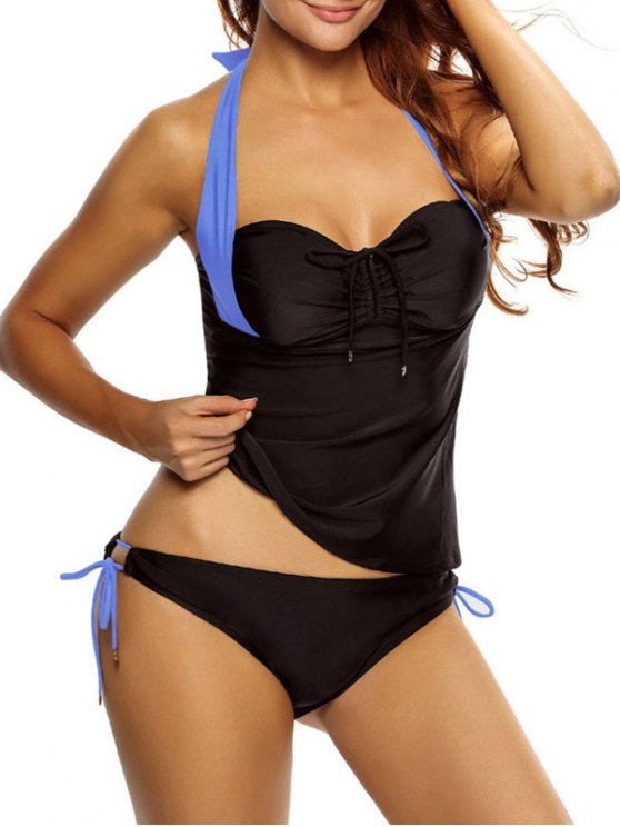 Tankini Top and Loop Tie Side Bottoms - BLUE AND BLACK M Mobile