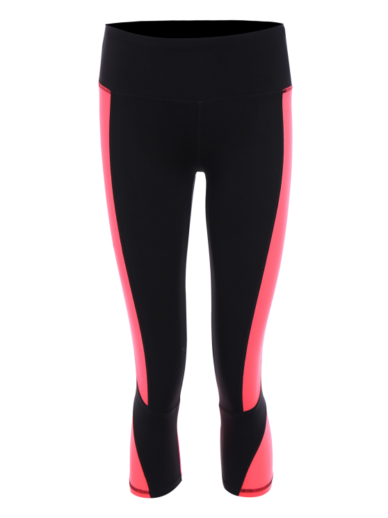 chic Skinny Color Block Cropped Sports Leggings - FLUORESCENT PINK XL