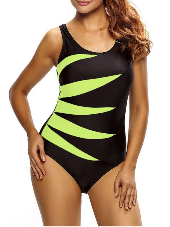 Lace Up Tummy Control Swimsuit - YELLOW L Mobile