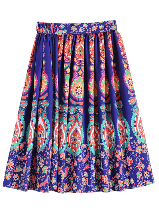 women's Retro Pattern Ball Gown Skirt - COLORFUL S