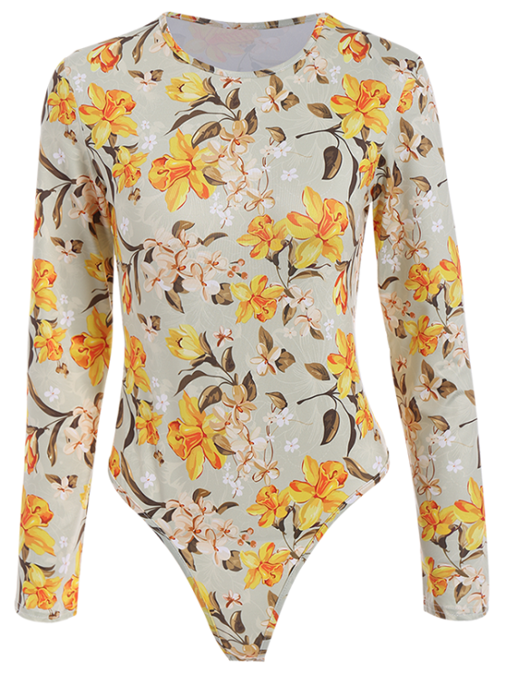 Flower Pattern Bodysuit - FLORAL M Mobile
