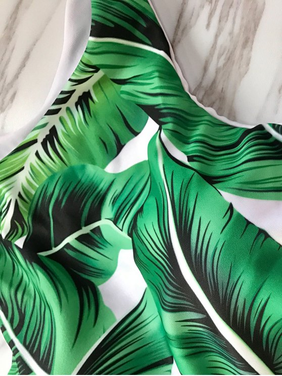 Leaf Print High Neck Bathing Suit - GREEN S Mobile