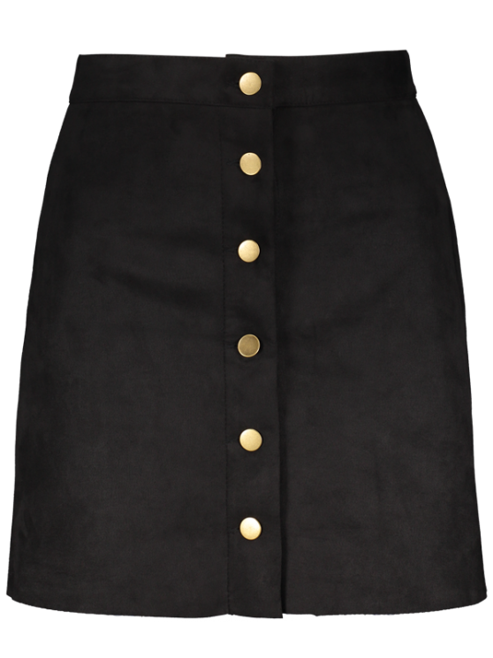 Faux Suede A-Line Skirt - BLACK S Mobile