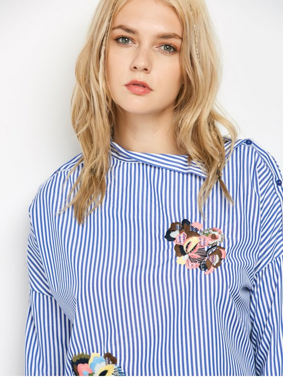 Striped Stand Neck Embroidered Blouse - BLUE AND WHITE S Mobile