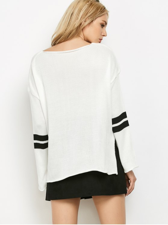 Side Slit Oversized Sweater - WHITE ONE SIZE Mobile