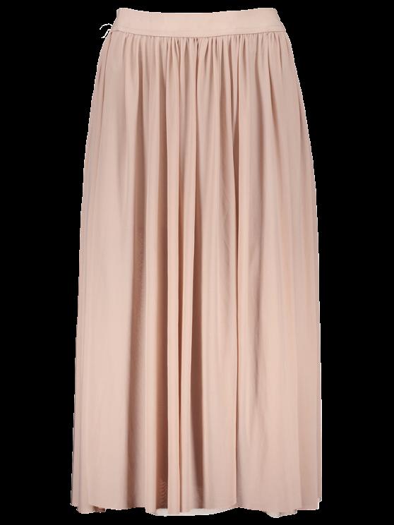Mesh Layers Midi Skirt - LIGHT PINK S Mobile