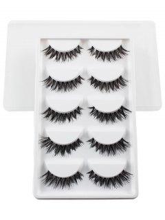 5 Pairs Dense Fake Eyelashes - White
