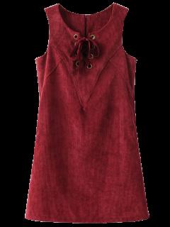 Robe En Velours Côtelé Sans Manches à Lacets - Rouge Foncé S