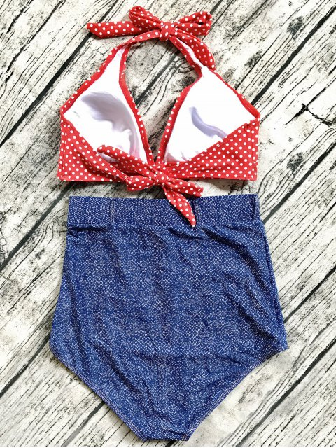 shop Denim High Waisted Vintage Bikini - BLUE L Mobile