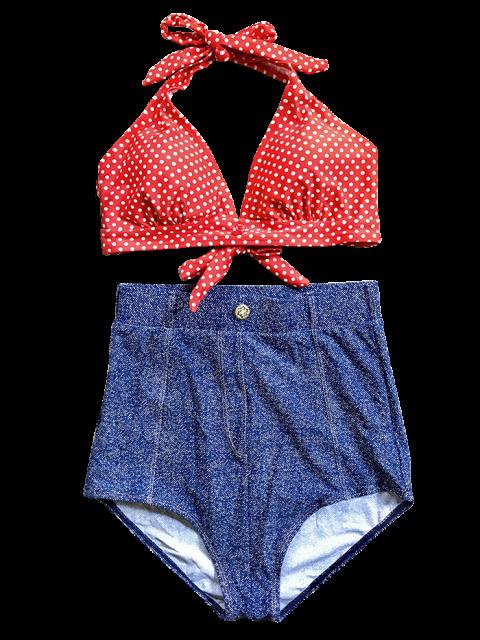latest Denim High Waisted Vintage Bikini - BLUE S Mobile