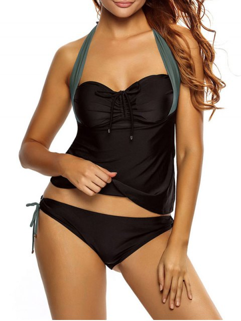 women Tankini Top and Loop Tie Side Bottoms - BLACK AND GREY L Mobile