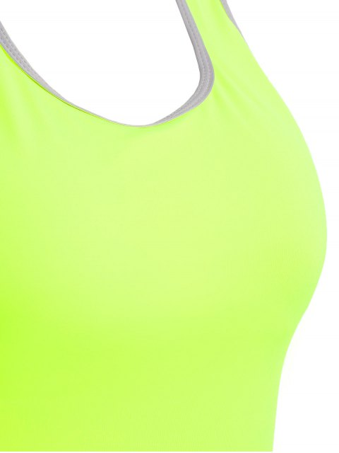 latest Cross Back Padded Sporty Top - FLUORESCENT YELLOW S Mobile