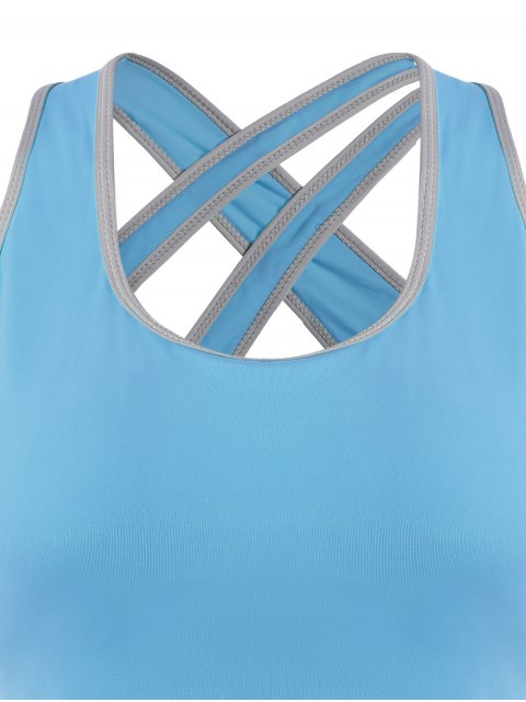 unique Cross Back Padded Sporty Top - LAKE BLUE L Mobile
