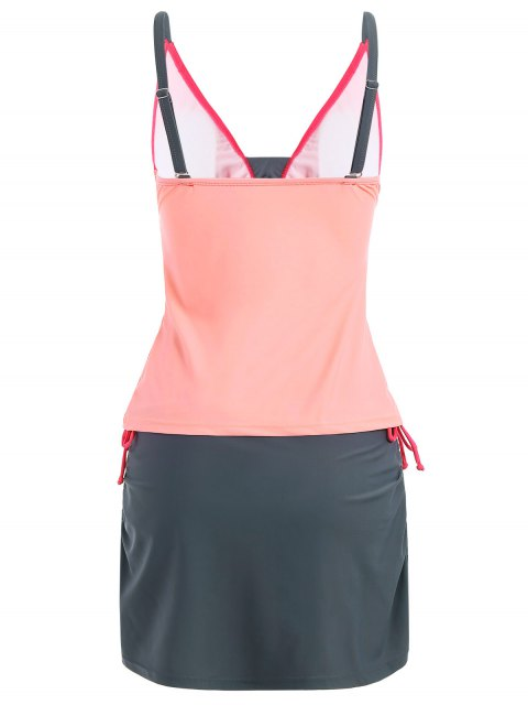 sale Padded Tankini With Swim Skorts - PINK AND GREY S Mobile