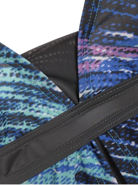 hot Padded Tankini With Swim Skorts - PURPLISHBLUE/GRAY XL Mobile