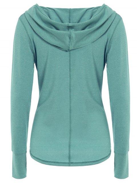 fashion Space Dye Hooded Sports T-Shirt - VERDIGRIS L Mobile
