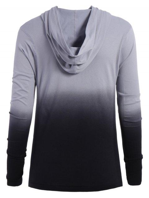 women's Activewear Ombre Zip Up Hoodie - BLACK L Mobile