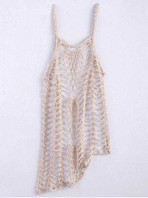 hot Asymmetric Crochet Cami Cover Up - OFF-WHITE M Mobile