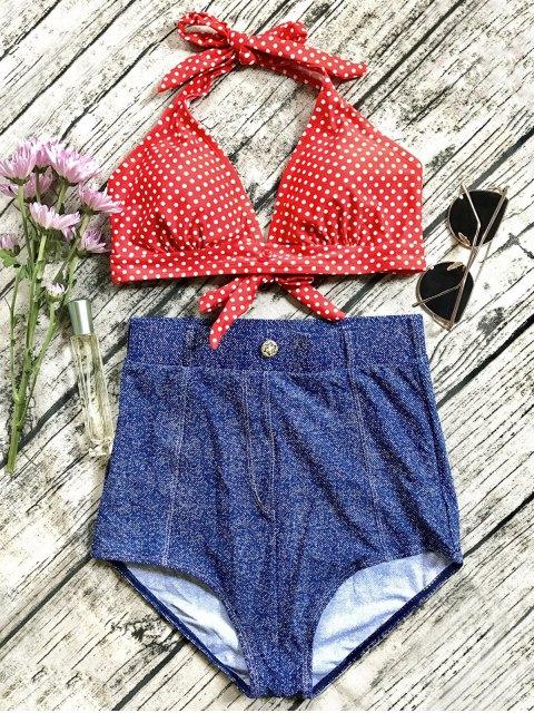 outfits Denim High Waisted Vintage Bikini - BLUE XL Mobile