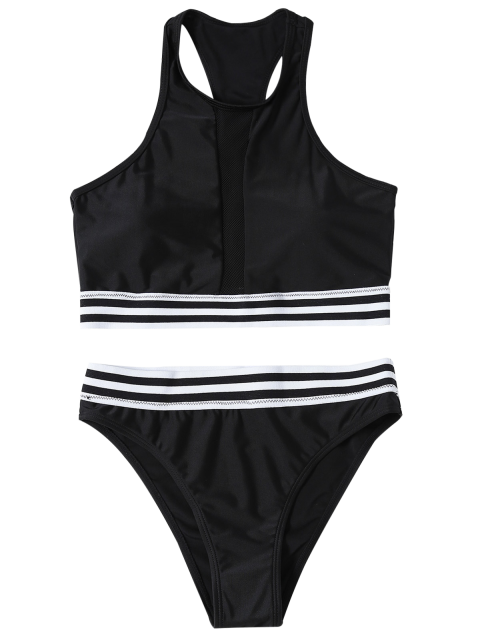 lady Striped Mesh Panel Bikini - BLACK M Mobile