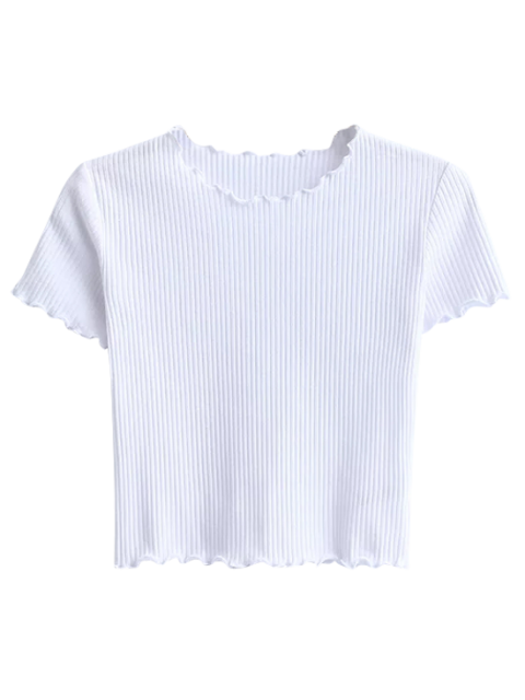 outfits Cropped Flounced T-Shirt - WHITE S Mobile