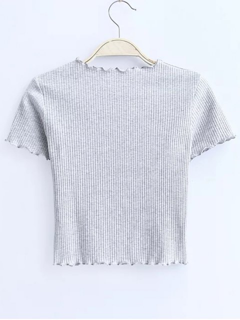trendy Cropped Flounced T-Shirt - LIGHT GRAY S Mobile