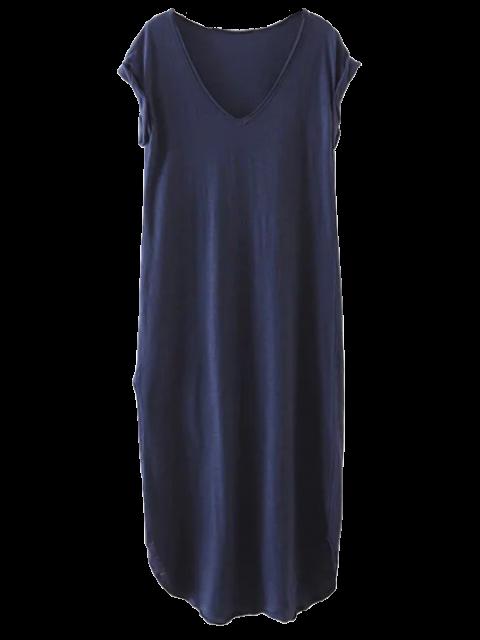 unique Casual Slit Straight T-Shirt Dress - CADETBLUE M Mobile