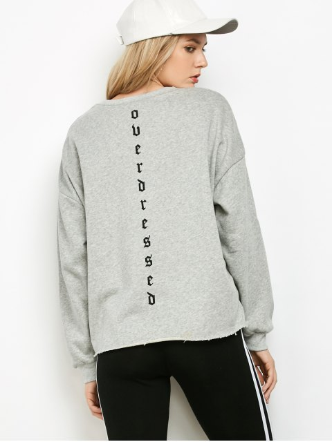outfit Graphic Raw Edge Oversized Sweatshirt - GRAY M Mobile