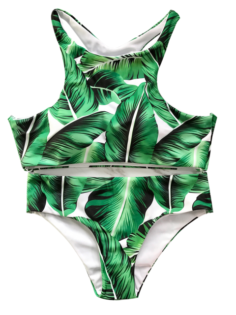 ladies Leaf Print High Neck Bathing Suit - GREEN L Mobile