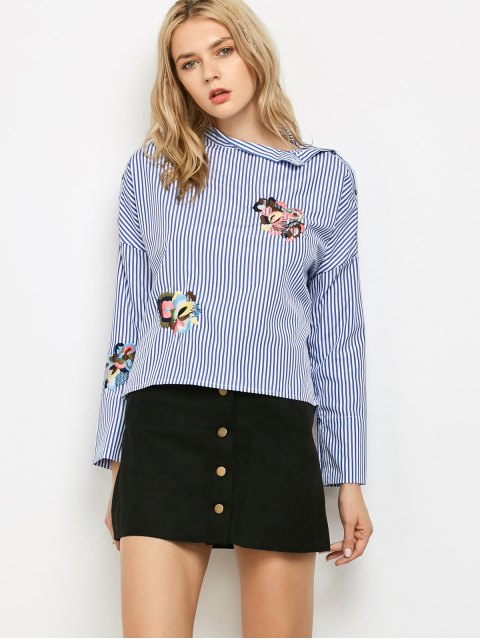chic Striped Stand Neck Embroidered Blouse - BLUE AND WHITE S Mobile