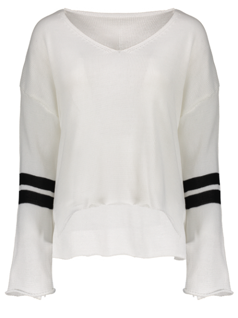 shop Side Slit Oversized Sweater - WHITE ONE SIZE Mobile