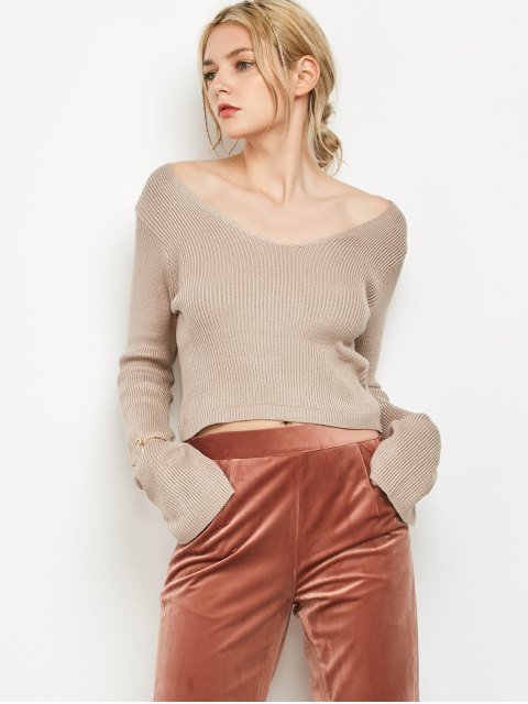 chic V Neck Flared Sleeve Cropped Sweater - LIGHT KHAKI ONE SIZE Mobile