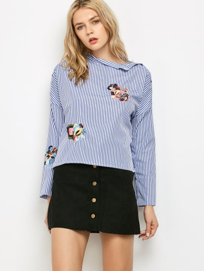 Striped Stand Neck Embroidered Blouse - Blue And White