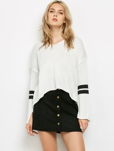 Side Slit Oversized Sweater - White