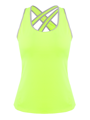 Cross Back Padded Sporty Top - Fluorescent Yellow