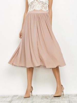 Mesh Layers Midi Skirt - Light Pink