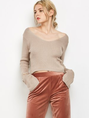 V Neck Flared Sleeve Cropped Sweater - Light Khaki